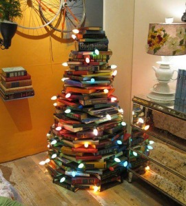 book tree with lights