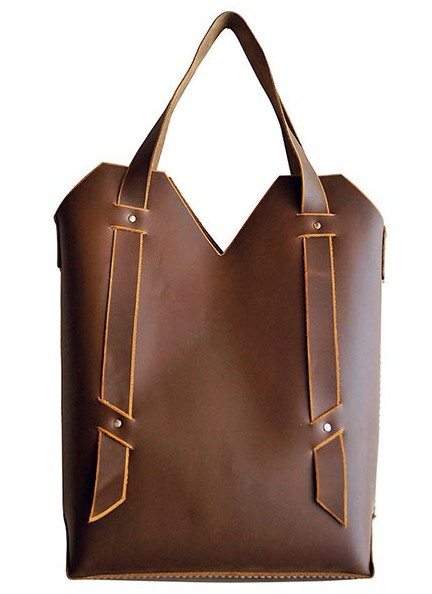 Leather librarian tote