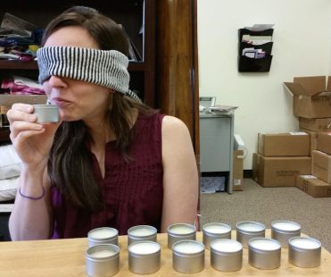 After narrowing down our choices, a blind smell test.
